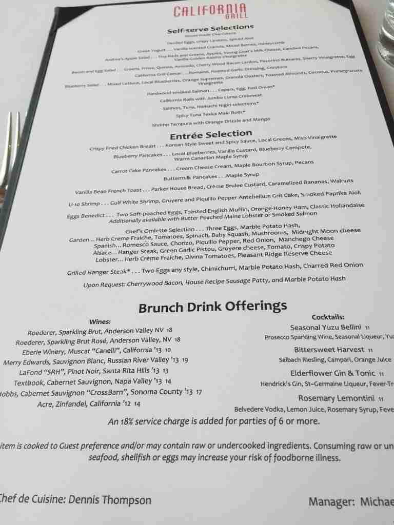 California Grill Sunday Brunch menu Mrs. Modernlifeisgood.com Birthday celebration