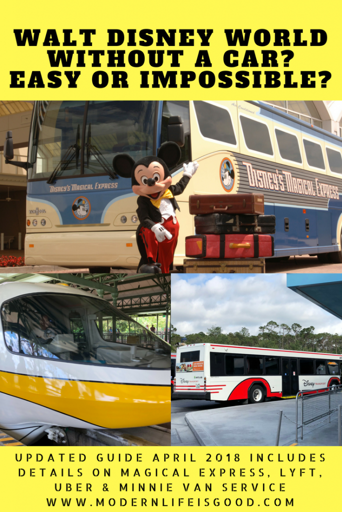 Walt Disney World Without a Car is easy. Details of Magical Express, Taxis, Lyft & Uber. How can you get to Universal Studios or from Orlando International Airport without a car? Plus the new Minnie Van Service