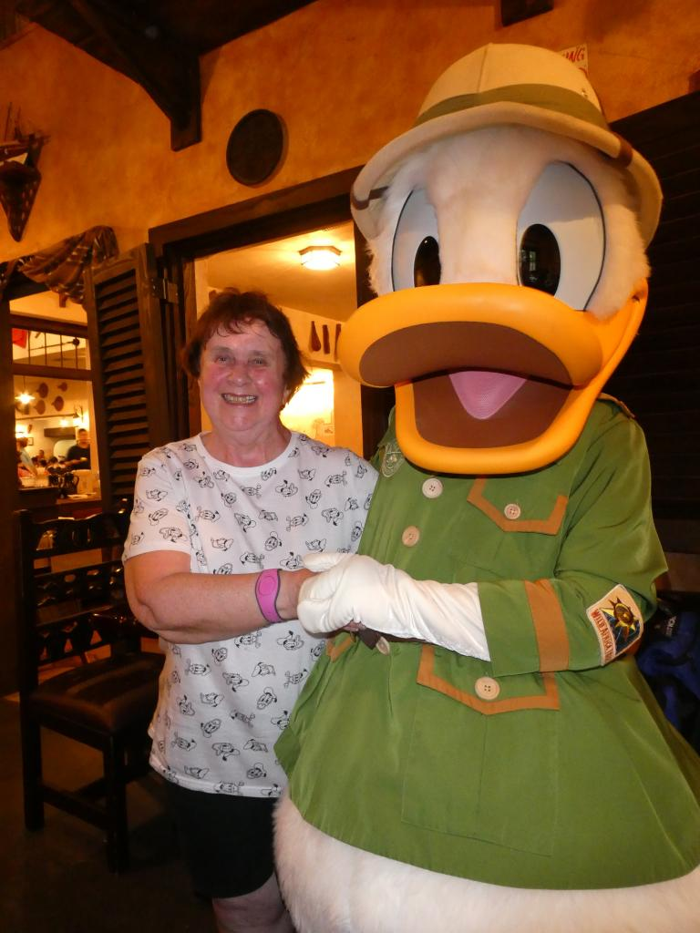 Calm down! Nana meeting Donald Duck. Donald's Safari Dinner