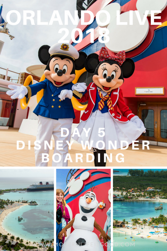 Today we took the short drive from Universal Orlando to the Disney Wonder for our very first Disney Cruise. We will be on the Disney Wonder for 3 nights sailing to Disney's Castaway Cay.