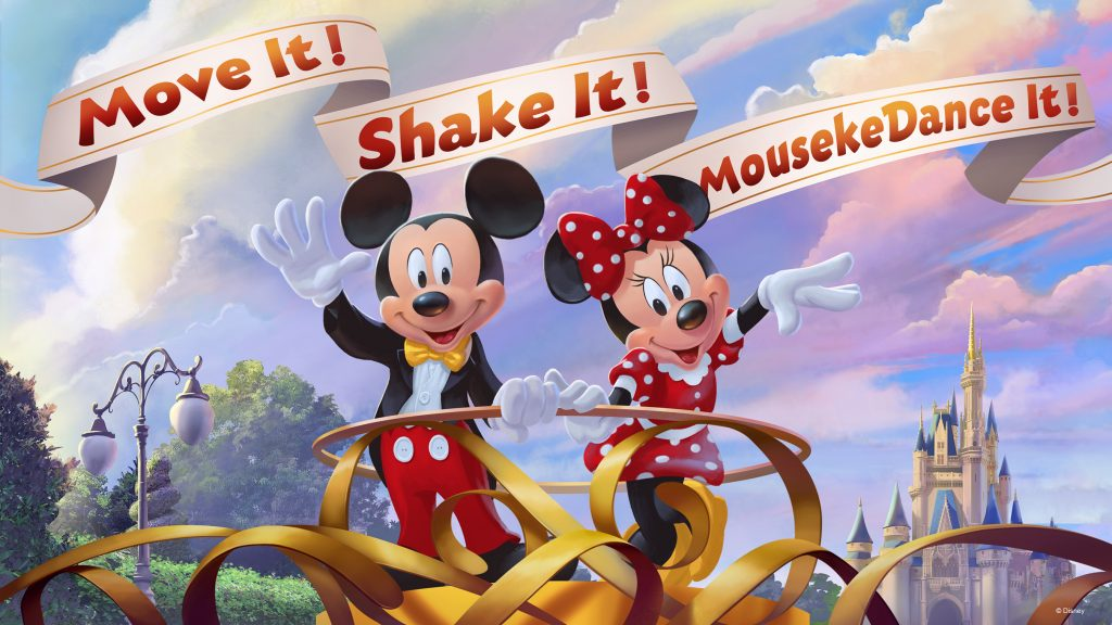 """Mickey Mouse and Minnie Mouse invite guests to join in the new """"Move It! Shake It! MousekeDance It! Street Party"""" in Magic Kingdom Park."""