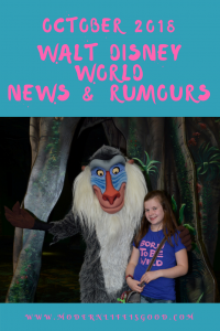 Walt Disney World News & Rumours October 2018