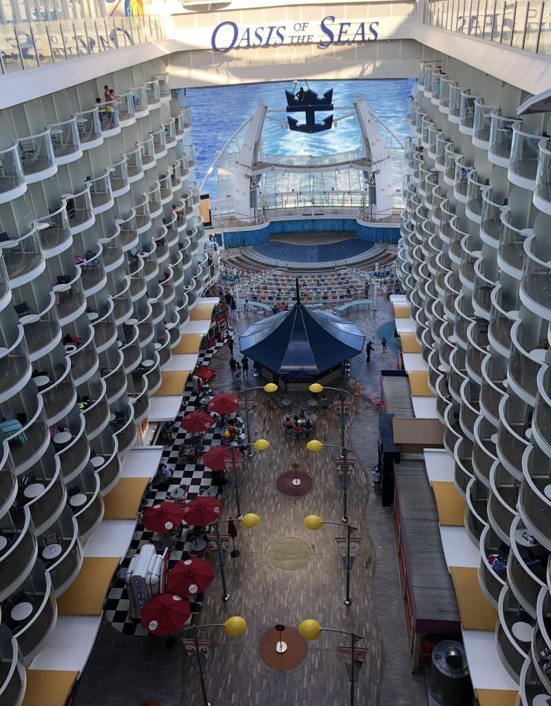 Looking down from Pool Deck Boardwalk & Aqua Theater oasis of the Seas