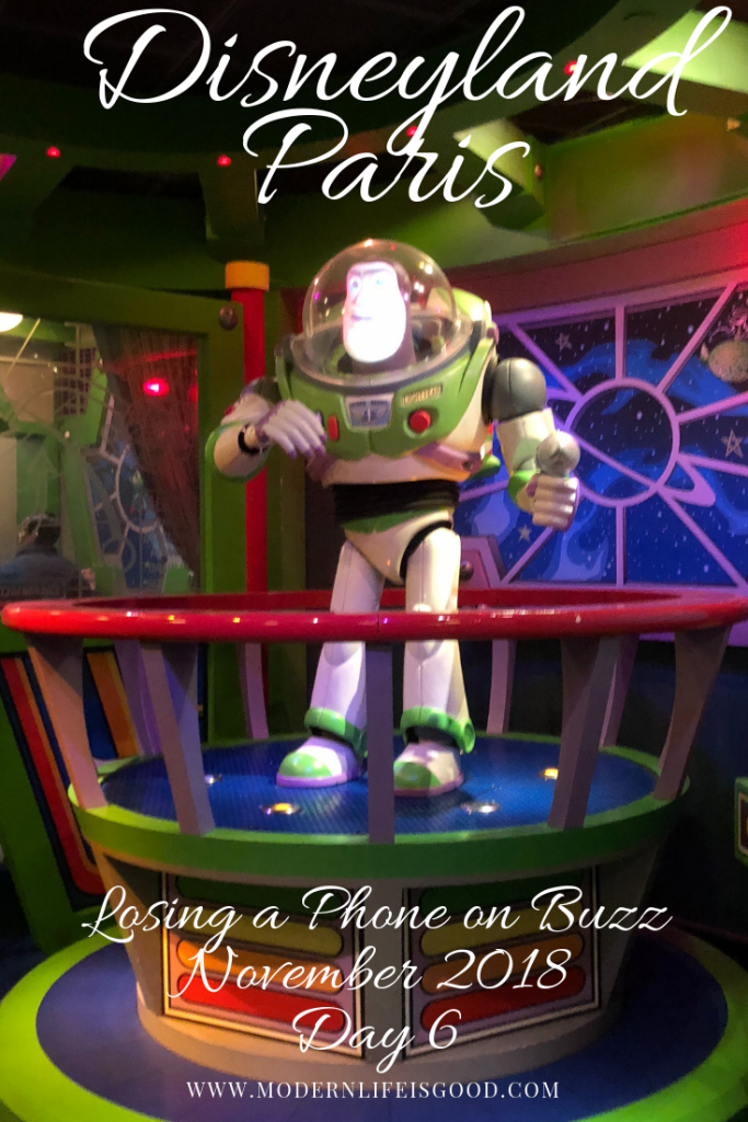 Jess loses her mobile phone on Buzz Lightyear Laser Blast at Disneyland Paris on our last day in our November 2018 vacation.