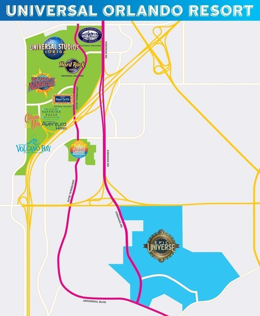 Map showing Universal's Epic Universe and the Current Universal Orlando Resort