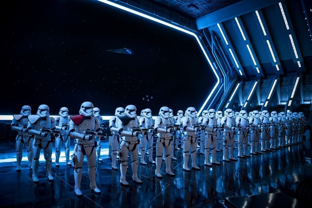 Fifty menacing First Order Stormtroopers await guests as they arrive in the hangar bay of a Star Destroyer as part of Star Wars: Rise of the Resistance