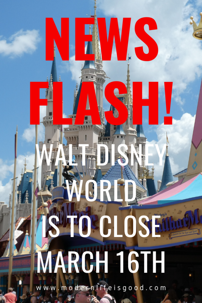 Walt Disney World is to close due to the Covid-16 pandemic from March 16th. In addition, it has been announced that Disneyland Paris will also close and all sailings from Saturday onwards on Disney Cruise Line