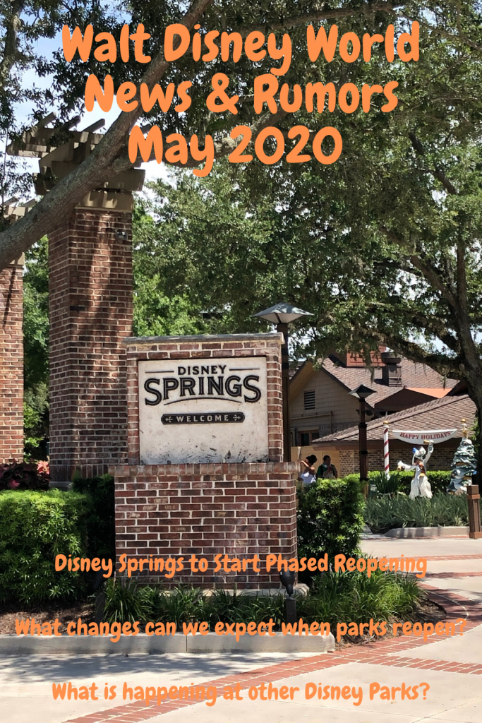 we now have some important news updates, including the phased reopening of Disney Springs. Our Walt Disney World News and Rumors Special May 2020 will bring you up to date with all the latest information.