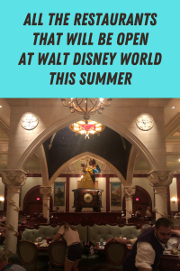 All the available dining experiences during the reopening of Walt Disney World. We list all the resort and theme park restaurants that will be open.