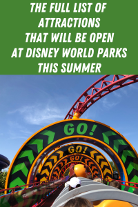 All the available reopening day attractions at the Walt Disney World Parks. Not everything will be opening when the parks reopen but the list is strong.