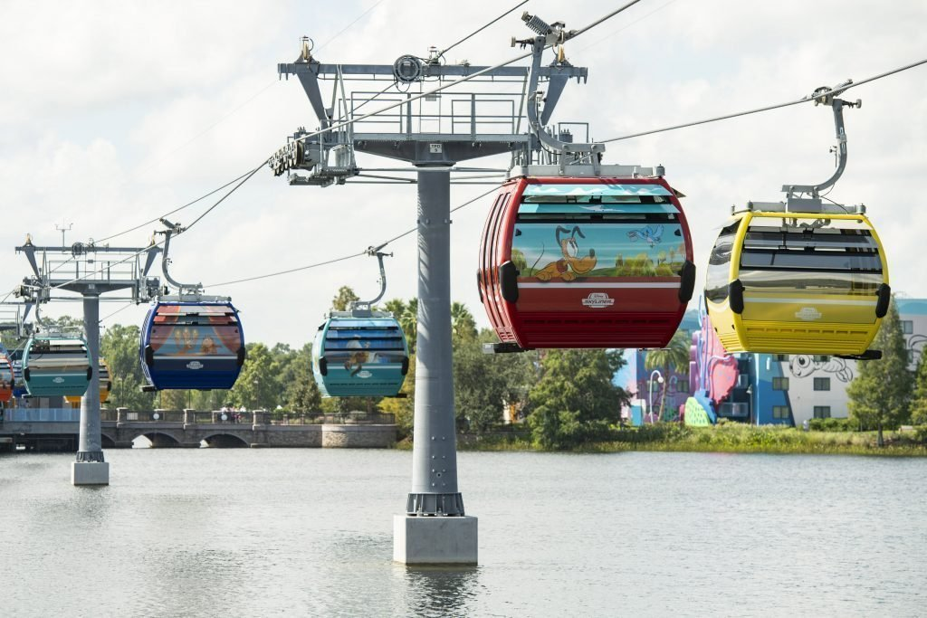 The  Disney Skyliner currently loads one party per gondola.