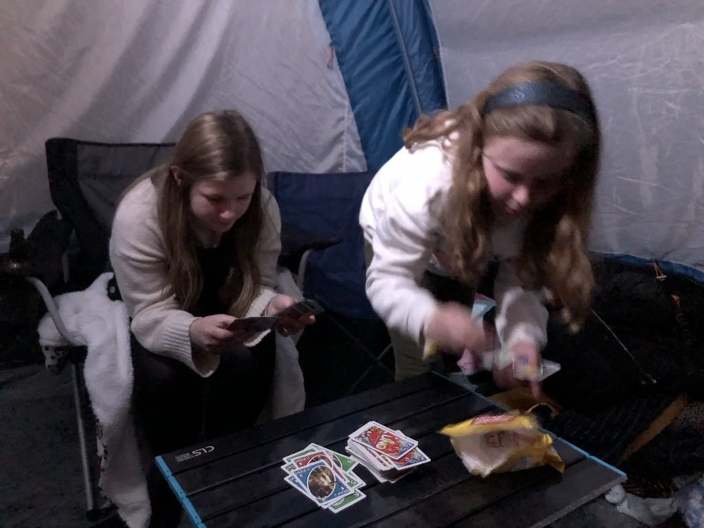 Late night games in our tent