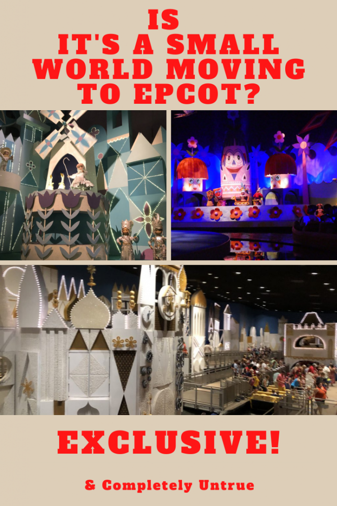 We have a history of bringing you absolutely no exclusives, but we try and collate the latest Walt Disney World News & Rumors. It's a Small World moving to Epcot is completely made up, but it does seem a brilliant idea.