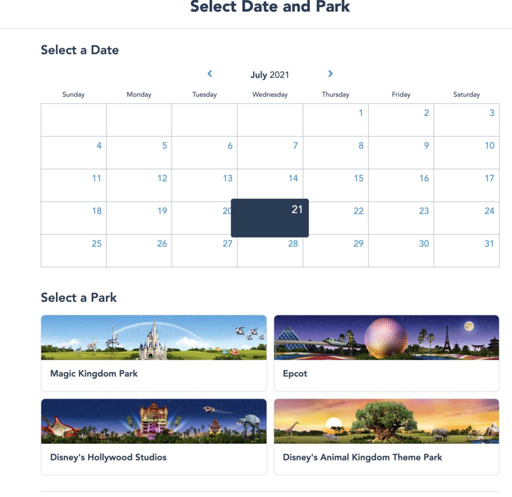 Booking a Disney Park Pass