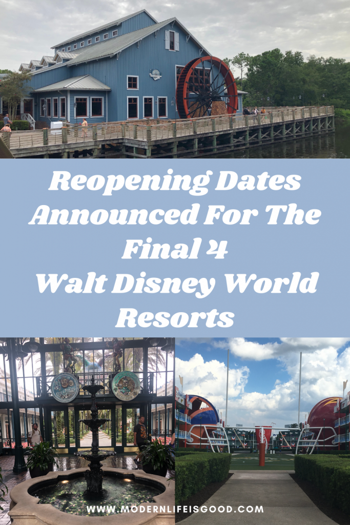Walt Disney World has announced reopening dates for the remaining four Walt Disney World Resorts. All resorts will be open by the end of 2021 and will be a further step closer to the resort operating at total capacity