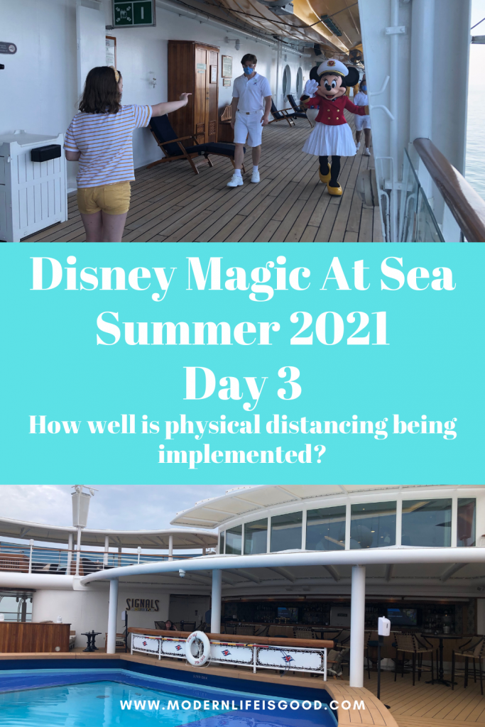 We are up to day three on our Disney Magic Staycation Cruise from Liverpool. These cruises were advertised as a safe vacations during uncertain times. One of the elements Disney stress on their website is that there will be increased Physical Distancing on the Disney Magic. In today's post, in addition to talking about the day's highlights, we will discuss how well Disney has implemented physical distancing on the Disney Magic.